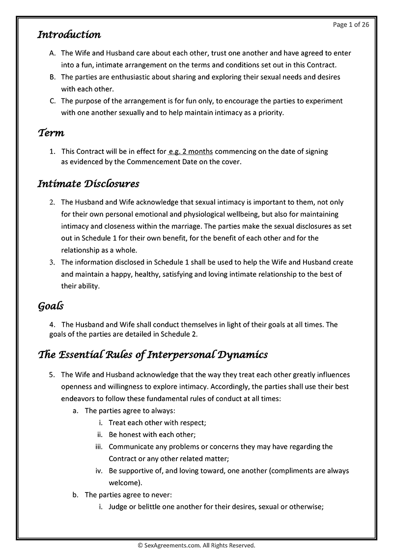 Marriage sex contract example